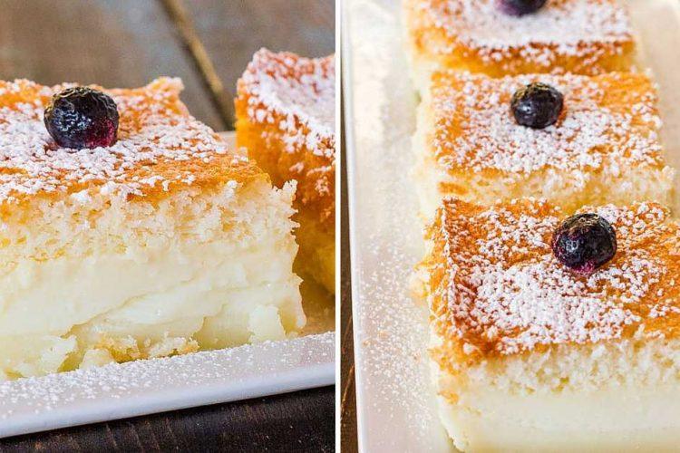 Nadýchané třívrstvé vanilkové řezy