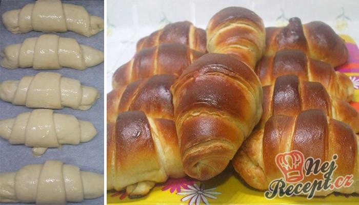 Máslové croissanty s vanilkovým/čokoládovým pudinkem