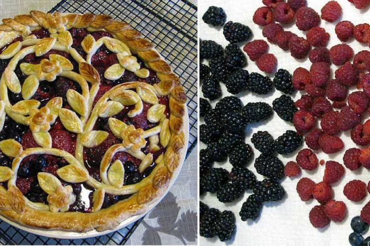 Božský koláč s lesním ovocem a nádherným motivem