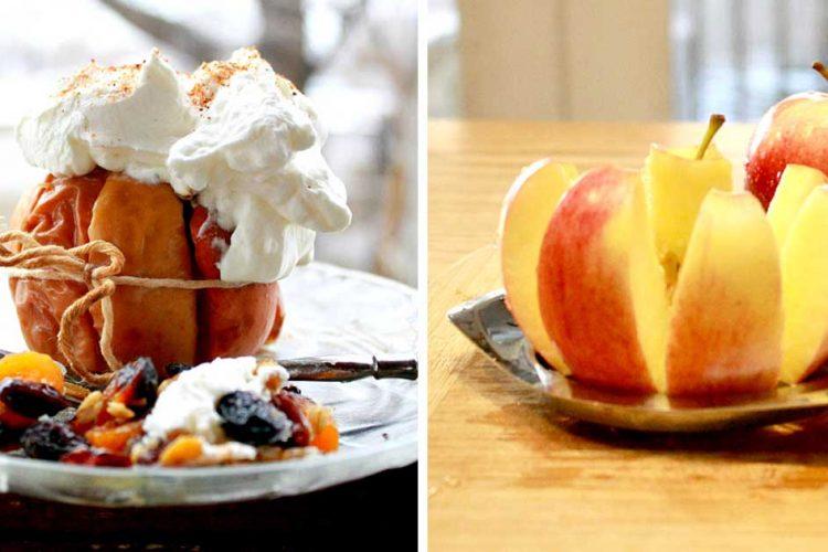 Podzimní pečená jablka s ovocem a šlehačkou