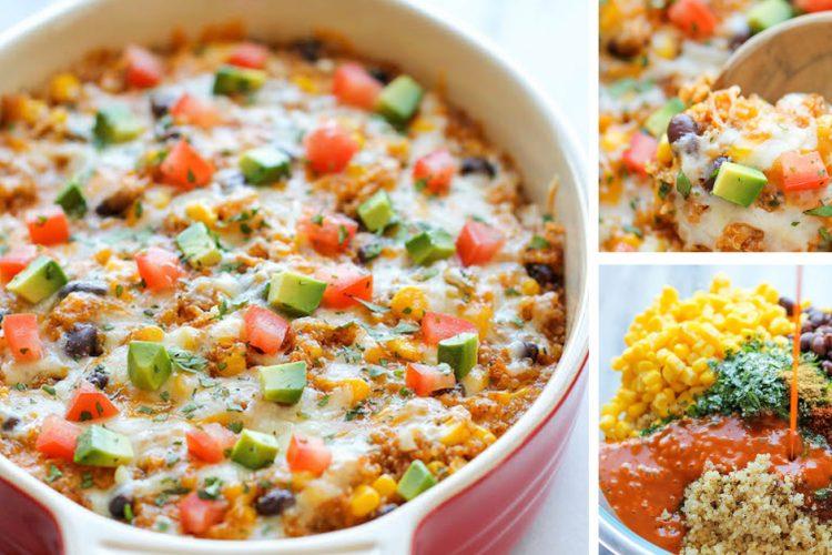 Snadná zapečená quinoa s pikantní omáčkou, zeleninou a chedarrem