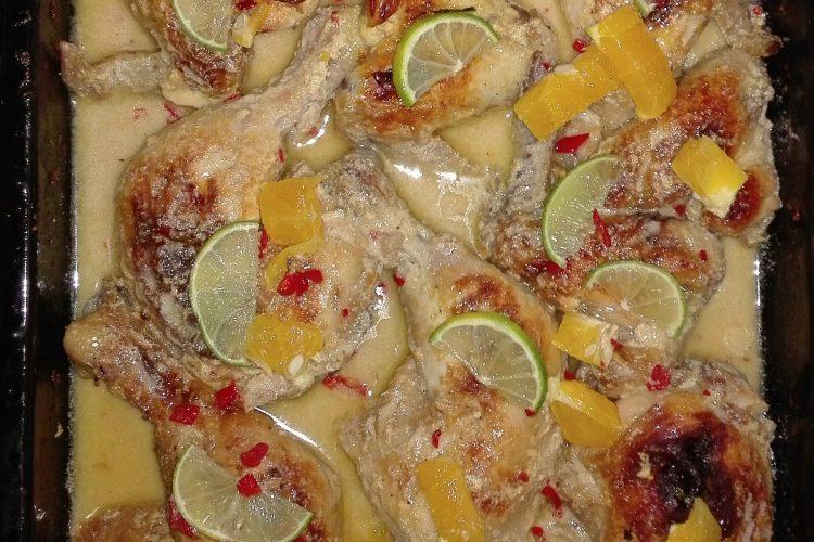 Kuřecí s pomerančem, chilli, limetou a kokos jogurtem
