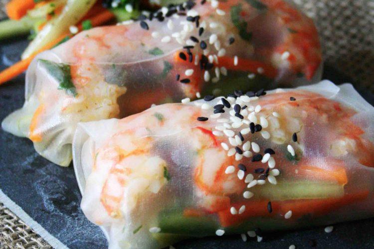 Rýžové závitky s krevetami a zeleninou