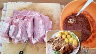 Nejchutnější maso s bramborami pečené vcelku – tajemství se skrývá v marinádě.