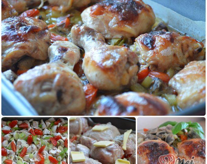 Kuře v medové marinádě pečené na zelenině