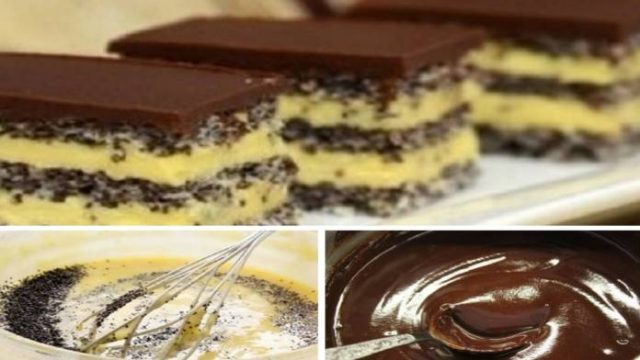 Najchutnejšie tradičné makové rezy s vanilkovým krémom a čokoládovou polevou!
