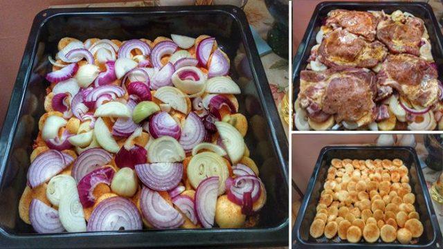 Manželove obľúbene jedlo: Vrstvené bravčové mäso so zemiakmi na jednom pekáči – luxusná chuť a ľahká príprava!