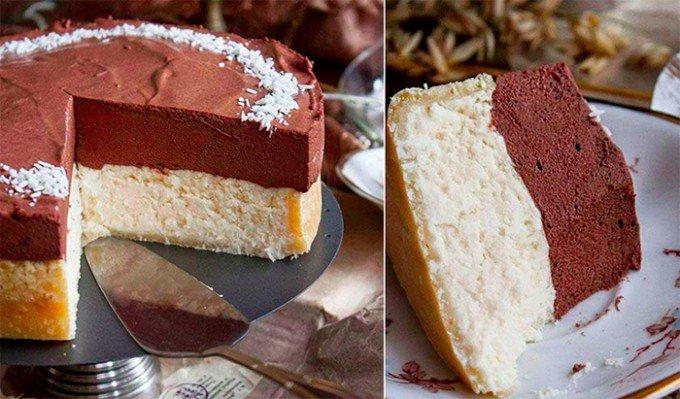 Fantastický kokosový cheesecake s čokoládovou pěnou