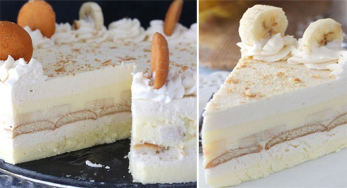 Nepečený banánový dort s piškoty
