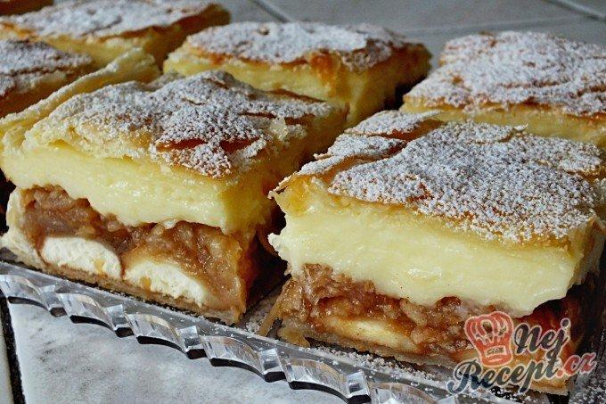 Jablkovo-pudinkový koláč z listového těsta