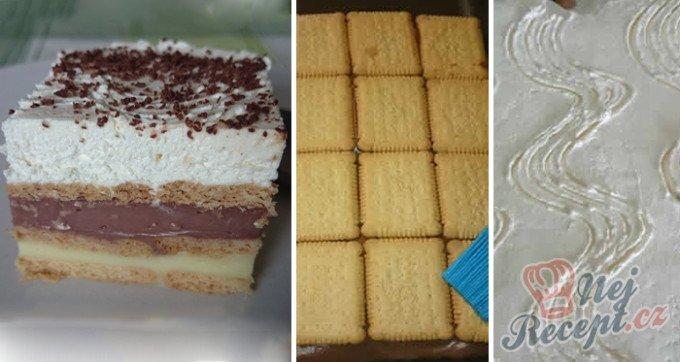 Vynikající čokoládovo-vanilkové řezy z bebe sušenek